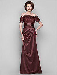 Dress - Chocolate Plus Sizes / Petite Sheath/Column Off-the-shoulder Floor-length Stretch Satin