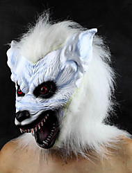 Blanco horrible cabeza del lobo de látex de Halloween máscara