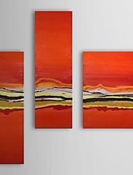 Pintado à Mão Pintura a óleo com moldura abstracta esticado Conjunto de 3 1308-AB0547