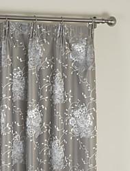 (Dois painéis) jacquard floral luxo cortina de blecaute