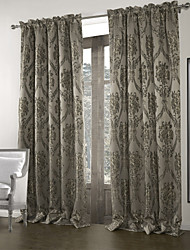 (One Panel)Vintage Jacquard Dark Grey Blackout Curtain