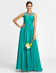 LAN TING BRIDE Floor-length Chiffon / Tulle Bridesmaid Dress - Sheath / Column Bateau with Beading / Criss Cross
