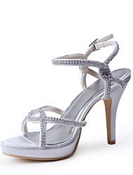 Bom gosto Cetim Peep Toe Pumps salto alto com strass sapatos de casamento