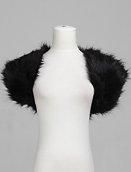 Fur Wraps / Wedding  Wraps Shrugs Short Sleeve Feather/Fur Black / Ivory Party/Evening Open Front Yes