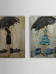 Pintado a mano la pintura al óleo Gente lluvia con el marco de estirado juego de 2 1309-PE1021