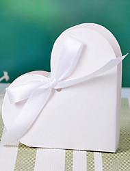 Heart Design White Favor Box With Ribbon Bowknot(set of 12)