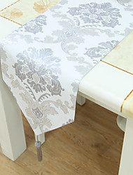 Silver Thread Floral Pattern Table Runner