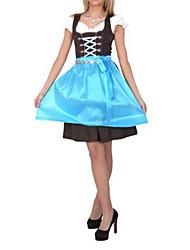 Beer Festival Hospitable Girl Sky Blue Cotton Dress Maid Uniform