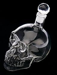 novidade formato da cabeça crânio garrafa de vidro de vinho