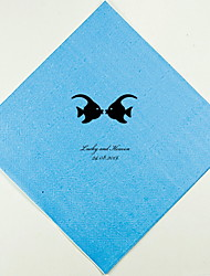 Personalized Wedding Napkins Kissing Fish(More Colors)-Set of 100