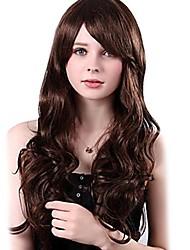 Capless Mixed Hair Long Wavy Chestnut Brown Hair Wigs