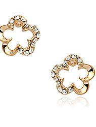 Elegante Liga Ouro / ródio com flor de cristal brincos em forma de (mais cores)