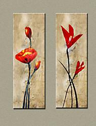 mx handgeschilderde olieverf abstracte bloem met gestrekte frame set van 2-9124