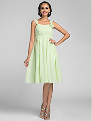 Knee-length Chiffon Bridesmaid Dress - Sage Plus Sizes / Petite A-line Straps