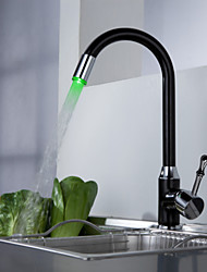 Kitchen Faucet Contemporary LED Brass Painting