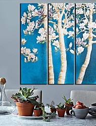 Stretched Canvas Art Botanical Flower Tree Set of 3