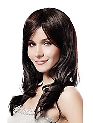 Capless Mixed Hair Long Wavy Dark Brown Hair Wigs