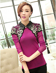 JANE FANS Casual Big Size Lapel Long Sleeve Cut Out Lace Tops(Random Pattern)