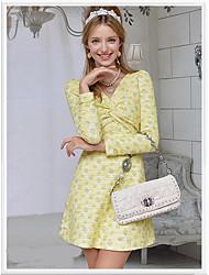 Women's Print Dress , Cute/Casual Deep V/Cowl Long Sleeve