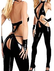 Disfraz Lady Gaga Ultra Sexy Negro PU Leotard de la Mujer