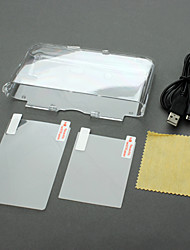 Clear Crystal Skin Case+2-LCD Film+2in1 USB Charging Cable For Nintendo 3DS XL