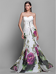 Prom/Military Ball/Formal Evening Dress - Print Sheath/Column Strapless/Sweetheart Sweep/Brush Train Chiffon