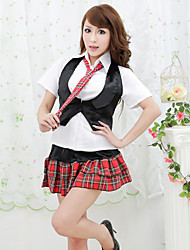 Black Vest Red Check Pattern Skirt School Girls' Uniform