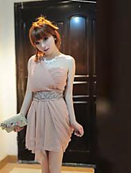 Asym Наклонные плеча женщин складки мини платье
