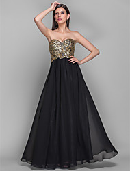 A-Line Princess Strapless Sweetheart Floor Length Chiffon Sequined Formal Evening Military Ball Dress with Draping by TS Couture®