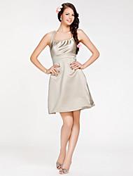 A-ligne bretelles robe de demoiselle d'honneur à court / mini en satin