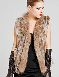 Sleeveless Collarless Rabbit Fur Party/Casual Vest(More Colors)