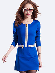 Women's Solid Black/Blue/Red Dress , Casual/Work Round Neck ½ Length Sleeve Zipper