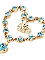 Madou Princess Peach Frauen Herz-Muster-Diamant-Armbänder (Light Blue)