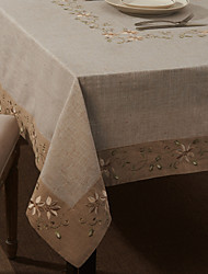 "59""X104"" Modern Style Linen and Cotton Floral Table Cloth"