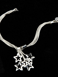 Attractive Sterling Silver Plated Copper-Nickel Alloy Bracelet With Star Pendant