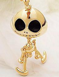 alien crâne diable long collier or noir (couleur aléatoire)