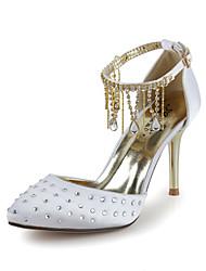 Bom gosto cetim bombas salto alto com strass e Franja sapatos de casamento