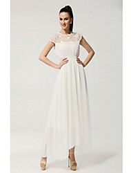 Women's Simplicity random Embroidery Pure Color Chiffon Short Sleeves Maxi Dress