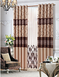 Two Panels  Country Floral Beige Lined Curtain With Sheer Set