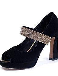 Buon gusto Suede Peep Toe grosso tacco con Sparking Glitter Party Shoes