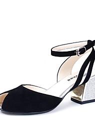 Zapatos de mujer - Tacón Robusto - Punta Abierta - Sandalias / Tacones - Vestido / Oficina y Trabajo - Cuero - Negro / Azul