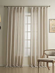 (Two Panels) Classic Stripe Linen / Cotton Energy Saving Curtain
