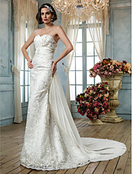 Mermaid / Trumpet Sweetheart Sweep / Brush Train Lace Sequined Wedding Dress with Beading Appliques by LAN TING BRIDE®