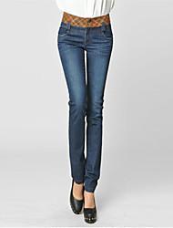 Women's Blue Cotton/Spandex Pant , Casual