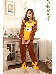 Women's Cute Bear Print Long Sleeve Lounge Wear