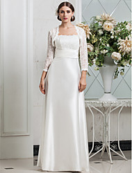 Sheath/Column Plus Sizes Wedding Dress - Ivory Floor-length Spaghetti Straps Lace/Stretch Satin