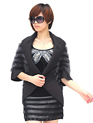 Half Sleeve Turndown Collar Rabbit Fur Party/Casual Jacket(More Colors)