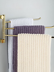 Solid Brass 3 Bars Rotatable Bathroom Towel Rack