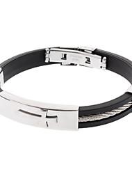 Cross Heren RVS Titanium Staal Vinyl Armband