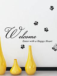 Bienvenue Entrez avec un coeur heureux Mots Stickers muraux